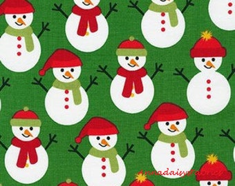 Snowman Fabric, Ann Kelle, Robert Kaufman JIngle 4, 15913 7 Green, Christmas Fabric, 100% Cotton Christmas Quilt Fabric
