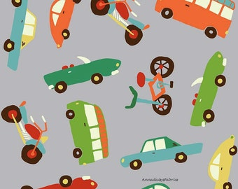 Boys Quilt Fabric, Riley Blake Wheels 2 C5050 Gray, Deena Rutter, Motorcycle, Bicycle, Retro Cars, Cotton Quilt Fabric for Boys