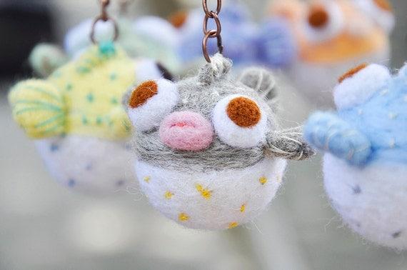 Amigurumi Koala Keychain : puffer fish miniature keychain needle felted fish keychain