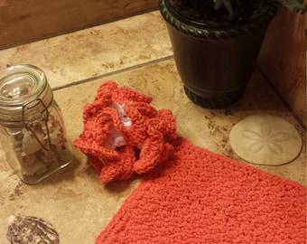 Peaches 'n Cream Washcloth and Scrubby Set