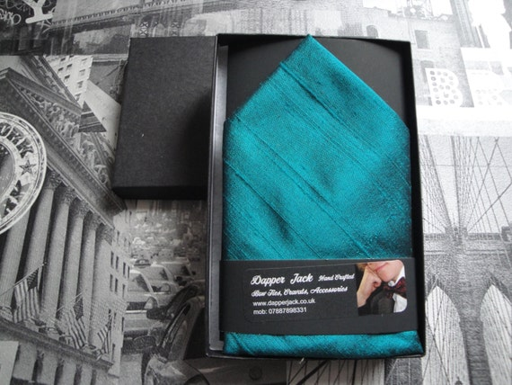 Silk pocket square, peacock blue silk pocket square