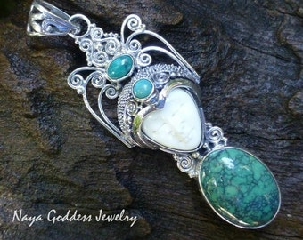 Sterling Silver and Turquoise Goddess Pendant GDP-1259