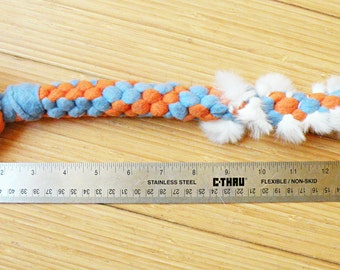 Single Knot Braided Fleece Dog Tug Toy, with Optional Rabbit Fur