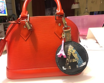 Letter A bag charm with Eiffel Tower