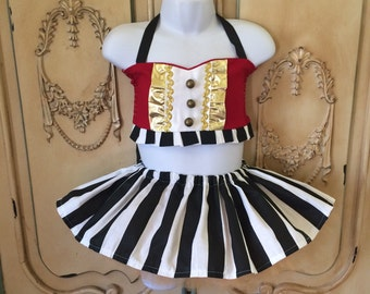 Boutique custom handmade pageant girls Pageant Circus Ringmaster tutu and top costume, Pageant Carnival outfit,, semi glitz pageant
