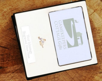 Lady Curler Curling  enamel  Design Silver Personalised Photo Album FREE ENGRAVING pewter emblem holds 100 6x4 photos