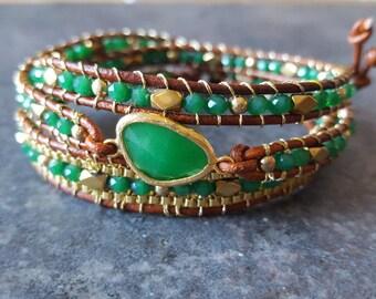Emerald green and gold leather wrap bracelet, green glass bezel and gold multi wrap bracelet, chan luu style bracelet