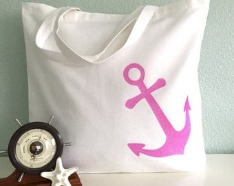 Nautical Anchor Tote Bag: beach bag, wedding tote or bridesmaid tote