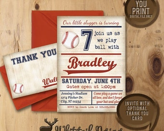 Baseball Birthday Invitation, Baseball Party Invite, Vintage Baseball Party Invitation, DIGITAL YOU PRINT