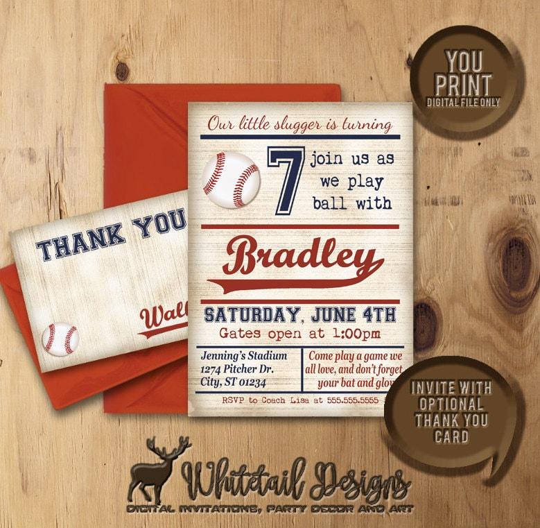 Vintage Baseball Birthday Invitations: Baseball Birthday Invitation Baseball Party Invite Vintage