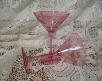 Martini glasses set of 2  Retro Vintage