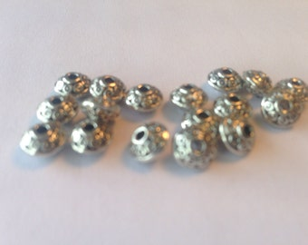 Tibetan Silver plated spacer Beads - spacer beads, charms, for jewellery making, bag of 20