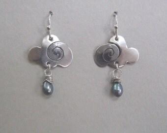 Cloud earrings, silver cloud earrings, rain cloud earrings, cloud and rain, weather earrings