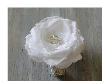 Wrist Corsage White Wedding  Corsage Mothers  Corsage Satin Corsage Prom Corsage Flower Corsage Wristlet Corsage Wedding  White Corsage