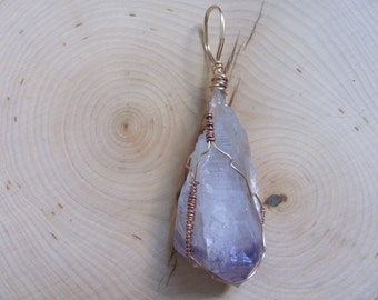 Large Copper Wire-Wrapped Raw Amethyst Pendant