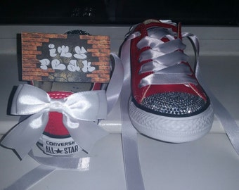 Girls customised blinged converse shoes with bows