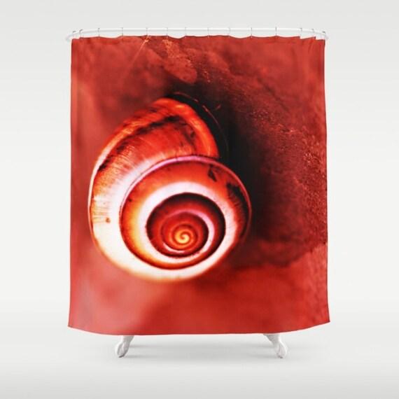 Snail Shower Design Ideas: Red Shower Curtain Red Bathroom Decor Snail Shell Shower