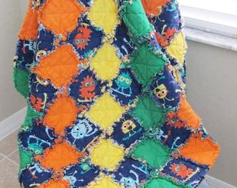 Navy Monster Blanket for Baby/Toddler - baby shower gift, cuddle blanket, aliens, green orange yellow