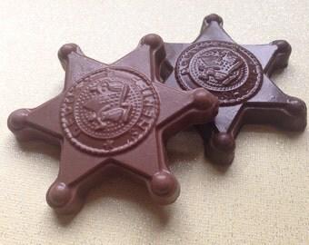 Sheriff's Badge Chocolate/ Pops 1 Dozen (12)