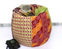 Handmade Quilted Cotton Floral Bohemian Bean Bag Chair Home Decor Round Decorative Hippie Embroidered Gypsy Ottoman Hippy Pouf I906