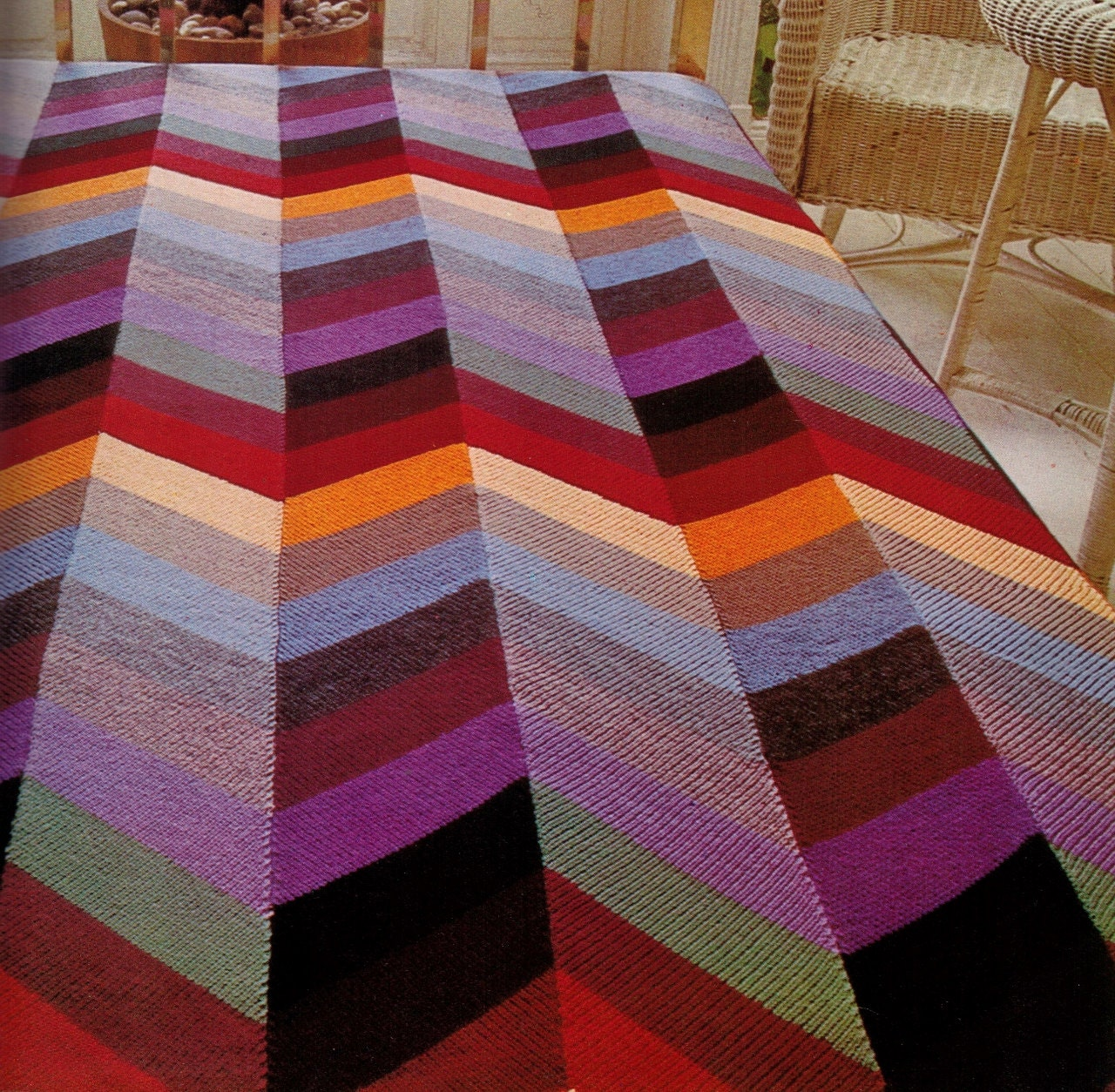 Knitting Zig Zag Blanket Pattern : Vintage s d zig zag pattern bedspread blanket knitted