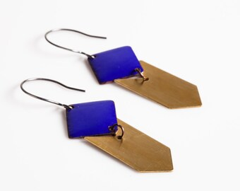 Jess Earrings - Enamel Squares and Brass Chevrons