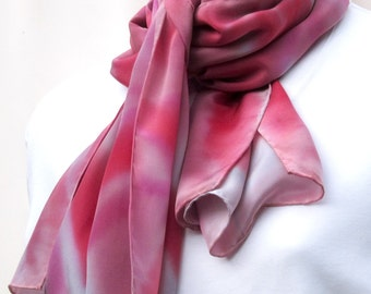 Large silk scarf painted in magenta pink and red on silver gray.  Handpainted large red, pink, and grey silk scarf.  Scarf red and grey.