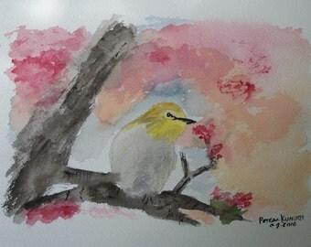 watercolor original,bird painting, original watercolor, yellow bird, art sale, bird in tree,painting of bird,tree branches,small bird