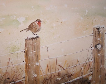 "watercolor painting,original painting of bird, winter scene painting,""WAITING OUT WINTER"",12""w x 8.25""h,Peter Kundra"