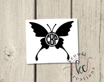 Butterfly Monogram Vinyl Decal-Style 1