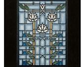 "Motawi TIle ""Waterlillies"" (Light Blue) 6"" x 8"" Ceramic Tile design by Frank Lloyd Wright"
