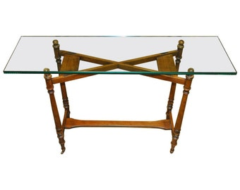 Henredon Glass Top Console Table