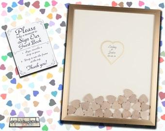 Wood Heart Guest Book Alternative Unique Wedding Drop In Top Shadow Box Wedding Guestbook Idea Frame
