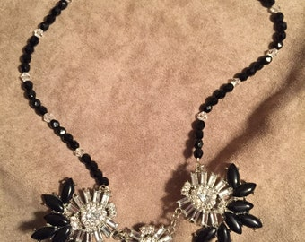 Black round faceted beads with crystals necklace