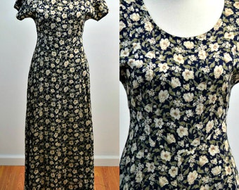 Vintage vtg 1990s 90s ALL THAT JAZZ Floral Print Maxi Dress Short Sleeve Dress Clip in Back Adjustable Waist Ankle Length Small S Medium M