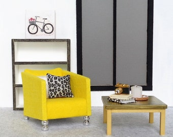 1:6 scale doll furniture yellow chair