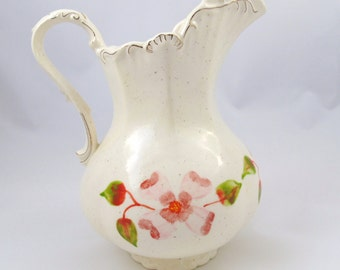 Vintage Ceramic Hand Painted White Water Pitcher With Floral Design Flower Vase Centerpiece
