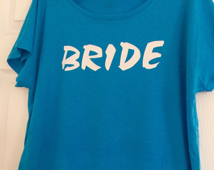 Turquoise Bride Shirt .  Bride t-shirt - Bride Gift - Bride Shirt - White writing - small, medium, large, XL , XXL, XXXL, 2x, 3x