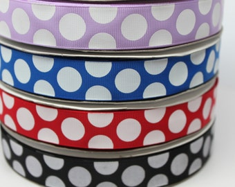 "SALE*****Polka Dot 7/8"" Purple - Blue - Red- Black Grosgrain Ribbon by the Yard for Hairbows, Scrapbooking, and More!!"