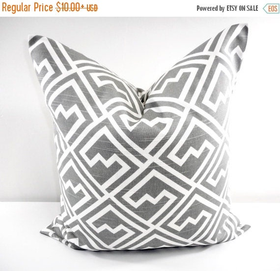 sale grey pillow gray and white pillow by twistedbobbindesigns. Black Bedroom Furniture Sets. Home Design Ideas