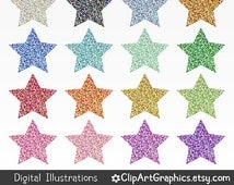 Digital Glitter Star Clip Art - Sparkle Star Clipart - Sparkly Star Shapes - Fun Kids Craft Printable Graphics - Space Party Design Download