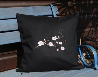 Cushion cover embroidered with cherry blossoms in black 40 x 40 cm decorative pillow Cushion cover cotton