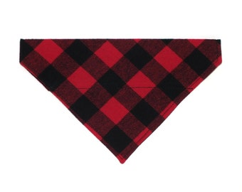 Buffalo Checks in Red Dog Bandana, Dog Scarf, no tie bandana, slip on bandana, pet bandana, doggy scarf , scarf for dogs