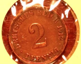 1912-A   2 Pfennig (Bronze) FREE SHIPPING