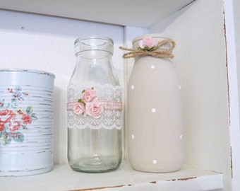 Vintage Shabby Chic Set of 2 Decorated Glass Milk Bottles Pink Rose Lace Dot Bow