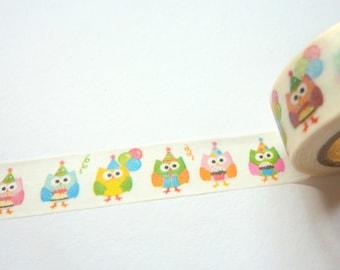 Cute Party Birthday Owls Washi Tape 15mm x 10m