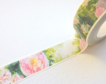 Roses Watercolour Effect Washi Tape 15mm x 10m