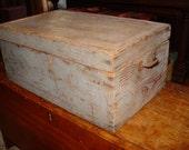 Antique primitive tool chest box trunk, original distressed old blue paint