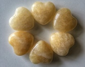 Yellow Jade Gemstone Hearts/ hand carved gemstone hearts/ puffy hearts/ meditation tool/ crystal hearts/ reiki healing/ palm stone