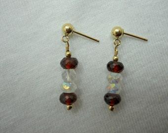 Garnet & Swarovski Earrings # 249